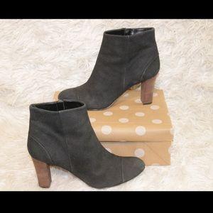 Cole Haan Nubuck Leather Side Zip Heel Ankle Boot